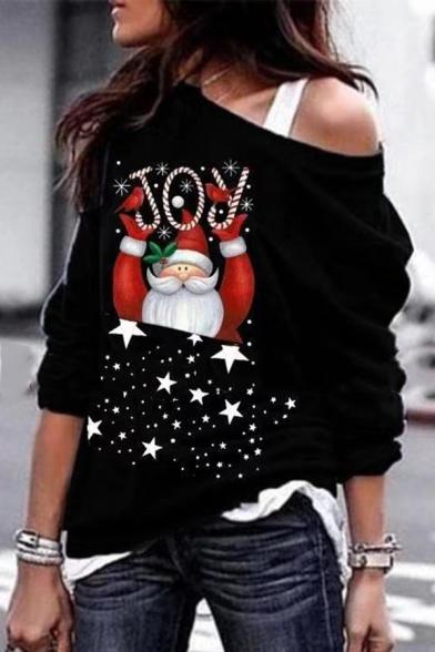 Fancy Casual Long Sleeve Drop Shoulder Letter JOY Santa Claus Pattern Loose Fit Pullover Christmas Sweatshirt for Female LM582304 фото