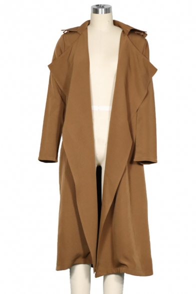 Fancy Fashion Ladies' Long Sleeve Notch Collar Loose Fit Plain Maxi Draped Trench Coat