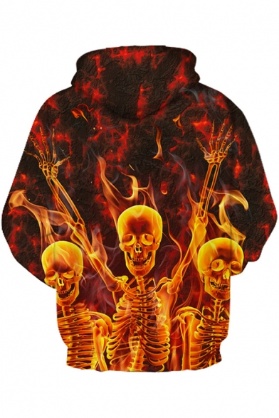 Fancy Fire Skull 3D Printed Long Sleeves Relaxed Loose Orange Pullover Hoodie