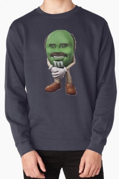 Fancy Men's Face Chocolate Bean Printed Long Sleeve Round Neck Pullover Sweatshirt