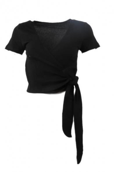 Fashion Cute Girls' Short Sleeve Surplice Neck Bow Tie Side Stripe Print Knit Fitted Wrap Tee