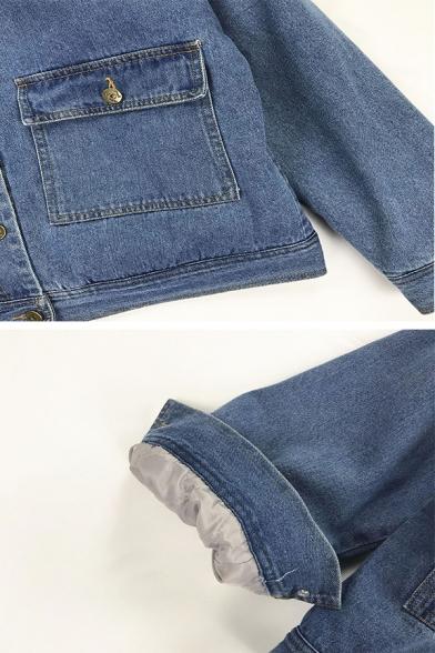 Fashion Girls' Long Sleeve Lapel Collar Button Down Flap Pockets Cartoon Graphic Sherpa Liner Loose Denim Jacket in Blue