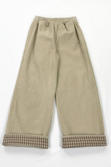 Girls' Preppy Looks Elastic Waist Plaid Printed Rolled Cuffs Corduroy Oversize Straight Long Pants, Khaki;coffee, LM583325