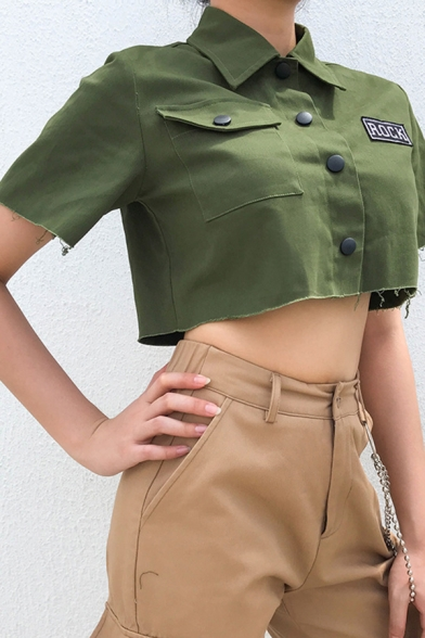 Green Cool Short Sleeve Lapel Collar Letter ROCK Button Down Flap Pocket Frayed Trim Relaxed Crop Jacket for Girls