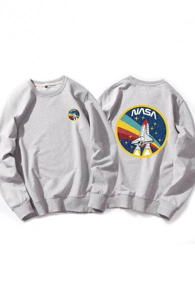Hot Popular Letter NASA Rocket Print Long Sleeve Loose Fit Unisex Casual Sweatshirt