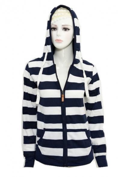 Classic Navy Striped Pattern Long Sleeve Zip Up Slim Fit Pullover Hoodie