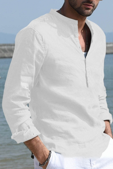 Men's Simple Long Sleeves Half Button Placket Loose Fit Solid Color Linen Shirt
