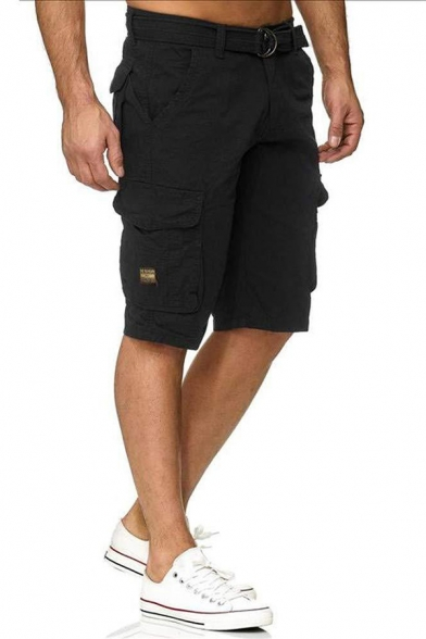 Mens Classic Plain Camouflage Print Zip Fly Loose Relaxed Flat Front Cargo Shorts