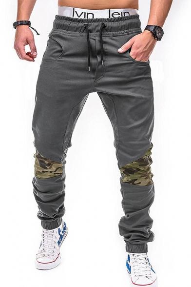Mens Leisure Camo Patchwork Drawstring Waist Elastic Cuff Loose Fit Streetwear Pants