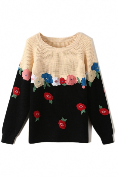 Mori Girls Chic Embroidered Flower Print Long Sleeve Round Neck Loose Colorblock Sweater, Blue;apricot, LM579927