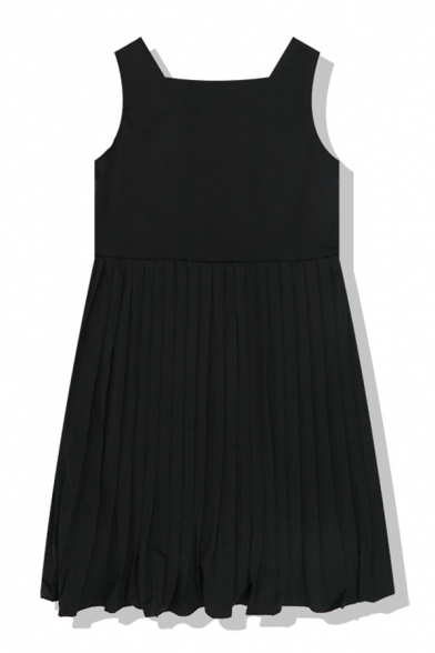 Plain Daily Sleeveless Round Neck Button Front Pleated Midi Relaxed A-Line Dress for Women