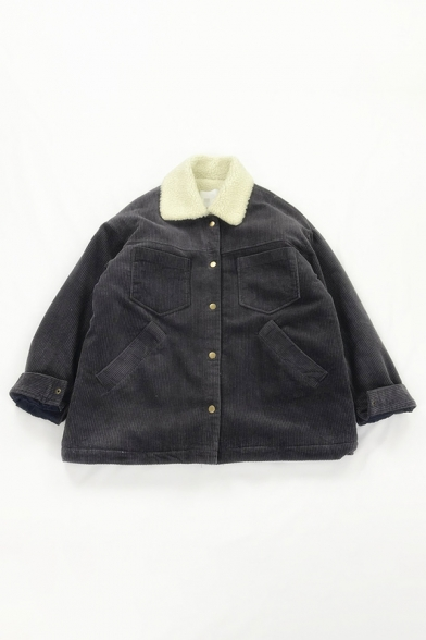Preppy Girls' Long Sleeve Lapel Collar Button Down Pockets Decoration Sherpa Liner Corduroy Plain Loose Jacket