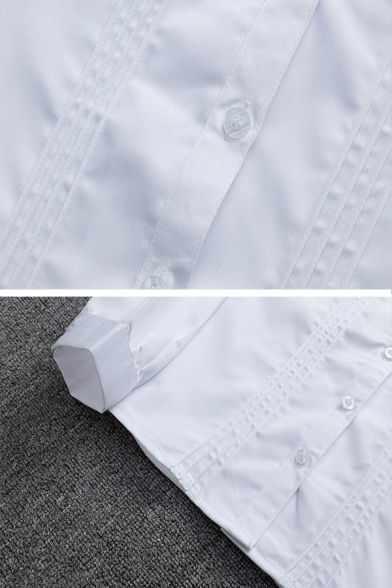 Preppy Looks Long Sleeve Sailor-Collar Button Down Pentagram Embroidered Pleated Loose White Shirt for Girls