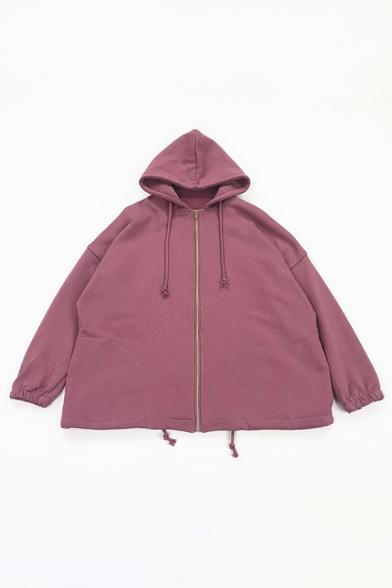 Street Cool Women's Long Sleeve Hooded Drawstring Zipper Front Oversize Plain Hoodie Jacket
