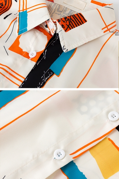 Stylish Unique Female Balloon Sleeve Lapel Collar Button Front Abstract Print Oversize Shirt in Apricot