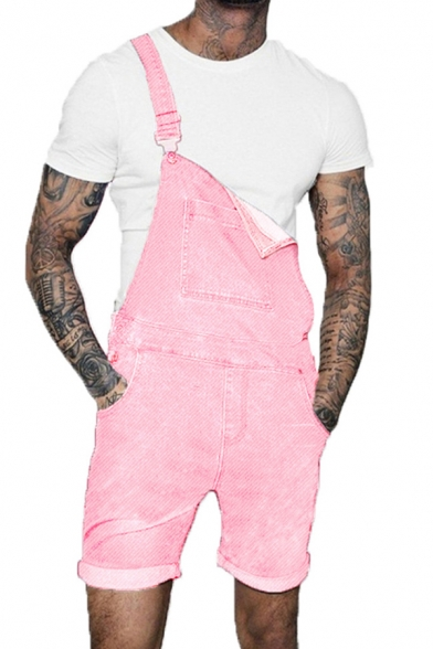 Teen Popular Solid Color Loose Fit Denim Shorts Coveralls with Pockets