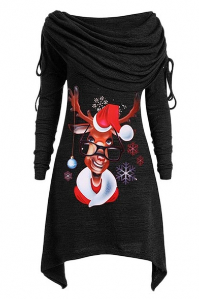Unique Trendy Long Sleeve Cowl Neck Drawstring Reindeer Pattern Asymmetric Mid A-Line Dress for Female