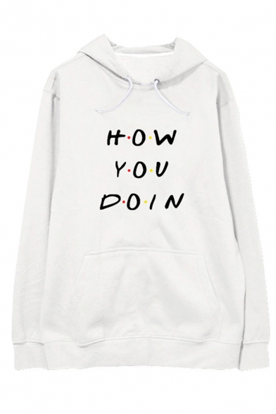 Unisex Letter HOW YOU DOIN Printed Long Sleeve Oversized Pullover Hoodie, Black;pink;white;gray, LC582755