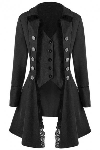 Vintage Unique Girls' Long Sleeve Lapel Neck Double Breasted Lace Trim Fitted Plain Long Bi-Layer Coat, Black;burgundy;gray, LM579055