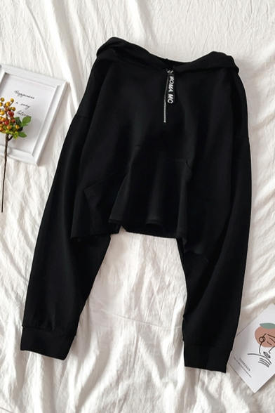 Women's Fashionable Long Sleeve Half Zip Kangaroo Pocket Plain Relaxed Hoodie
