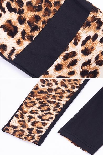 Womens Yoga Fashion Leopard Print Cutout Crop Cami Top Skinny Leggings Two-Piece Co-ords