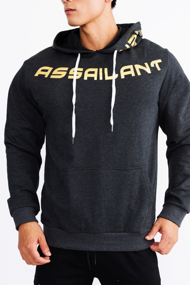 ASSAILANT Letter Print Drawstring Hood Long Sleeve Relaxed Fit Color Block Hoodie