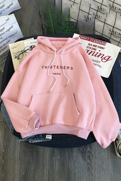 Chic Girls' Long Sleeve Drawstring Letter THIRTENERS Kangaroo Pocket Relaxed Fit Hoodie, Blue;pink;apricot, LM585595