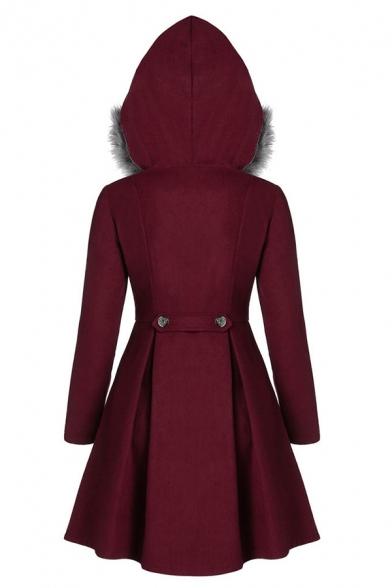 Elegant Ladies' Long Sleeve Hooded Double Breasted Sherpa Trim Plain Pleated Slim Fit Skirt Wool Coat