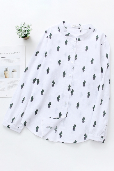 Fashion Girls' Long Sleeve Crew Neck Button Down All Over Cactus Printed Relaxed Fit Shirt in White