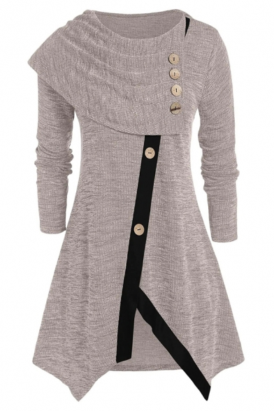 Girls' Unique Long Sleeve Round Neck Button Decoration Patched Contrast Piped Asymmetric Knit Plain Mid A-Line Sweater Dress