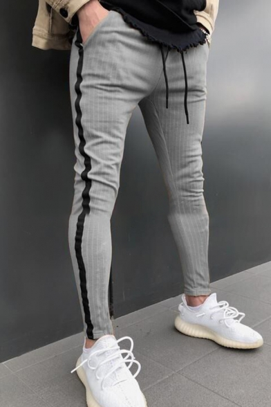 Mens Active Pinstripe Printed Drawstring Waist Side Stripe Skinny Fit Sport Pants