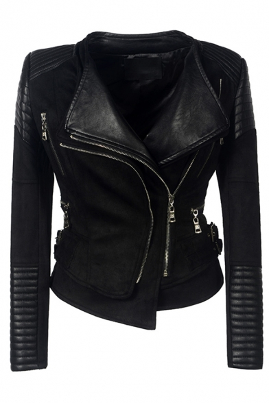 Unique Cool Girls Long Sleeve Lapel Collar Zipper Buckle Embellished Leather Patched Asymmetric Plain Fitted Jacket, Black;apricot, LM580223