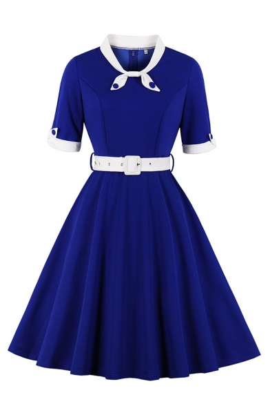 Vintage Unique Girls' Plain Short Sleeve Bow Tie Neck Button Decoration Buckle Belted Midi Pleated Flared Dress