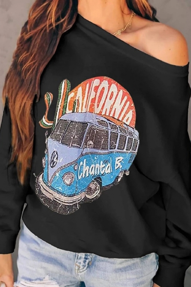 Women's Cool Chic Long Sleeve Drop Shoulder Letter CHANTAL B Bus Pattern Loose Fit Pullover Sweatshirt