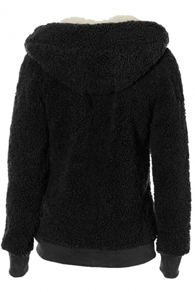 Women's Thickened Long Sleeve Hooded Drawstring Zipper Front Pockets Side Sherpa Fleece Relaxed Plain Coat