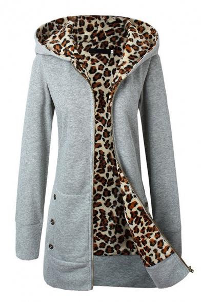 Womens Glamorous Leopard Lined Thick Long Sleeve Zip Up Slim Longline Hoodie