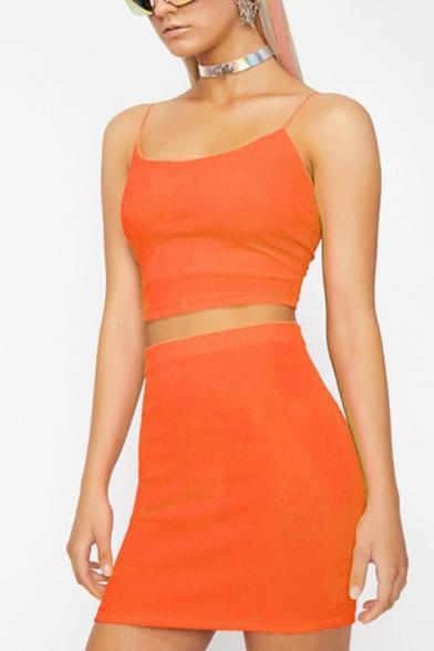Womens Sexy Fashion Spaghetti Straps Cropped Tank with Mini Bodycon Skirt Plain Co-ords