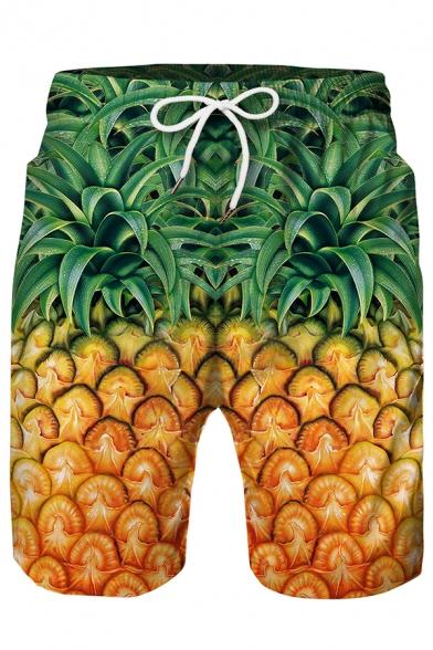 3D Cartoon Diver Pineapple Printed Drawstring Waist Loose Swim Trunks