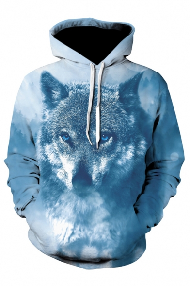 3D Wolf Pattern Long Sleeve Relaxed Loose Gray Drawstring Hoodie