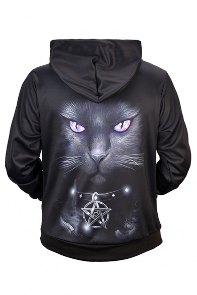 Black Lovely Cat and Scratch 3D Printed Long Sleeve Pouch Pocket Drawstring Hoodie