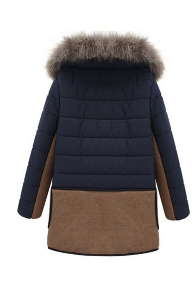 Casual Navy Blue Long Sleeve Hooded Zip Front Fluff Trim Pockets Side Patched Boxy Puffer Coat for Women