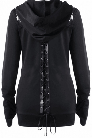 Casual Plain Long Sleeve Hooded Drawstring Zipper Front Lace Up Back Sheer Lace Patched Fitted Jacket for Women