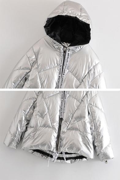 Chic Street Girls' Long Sleeve Hooded Zipper Front Drawstring Plain Baggy Down Coat