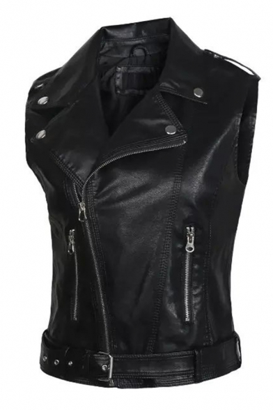 Chic Women's Sleeveless Notch Collar Zipper Front Buckle Belted Slim Fit Leather Plain Vest
