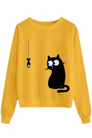 Classic Trendy Ladies' Long Sleeve Round Neck Kitty Fish Printed Loose Daily Pullover Sweatshirt, Black;pink;white;gray;yellow, LM575861