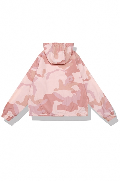 Cute Fashion Girls' Long Sleeve Hooded O-Ring Zip Up Drawstring Camo Printed Pockets Oversize Jacket in Pink