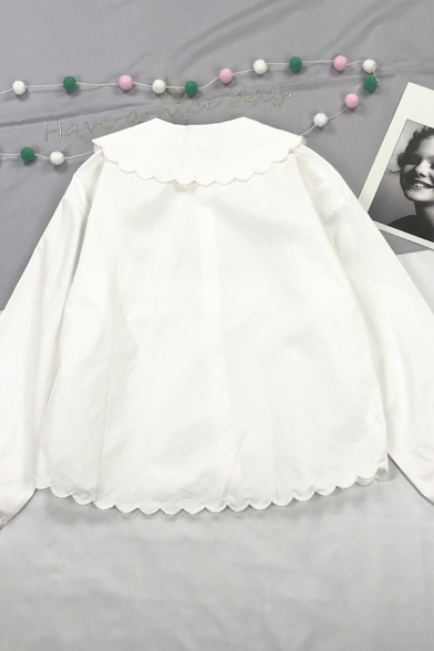 Cute Girls' Blouson Sleeve Peter Pan Collar Button Down Letter TONG QU RESTAURANT Panda Embroidered Scalloped Loose Short Shirt in White