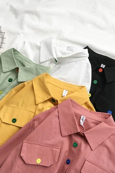 Cute Plain Short Sleeve Lapel Neck Button Down Flap Pockets Loose Fit Short Shirt for Ladies