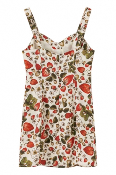 Cute Stylish Girls' Sleeveless Sweetheart Neck Strawberry Printed Relaxed A-Line Cami Dress in Apricot