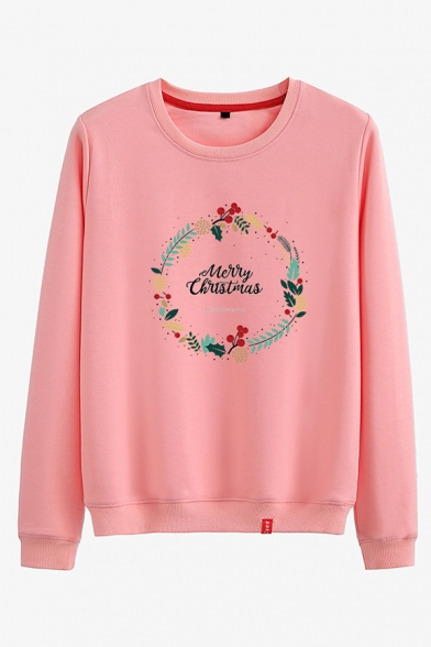 Girls Classic Cozy Long Sleeve Crew Neck Letter MERRY CHRISTMAS Floral Printed Relaxed Pullover Sweatshirt